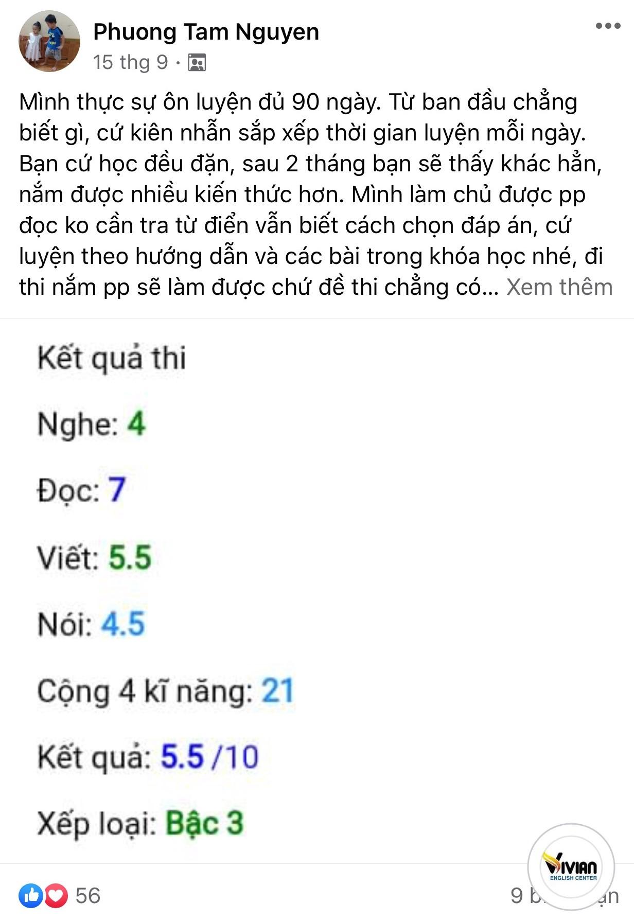 Phản hồi học online Tiếng Anh A2, B1,B2